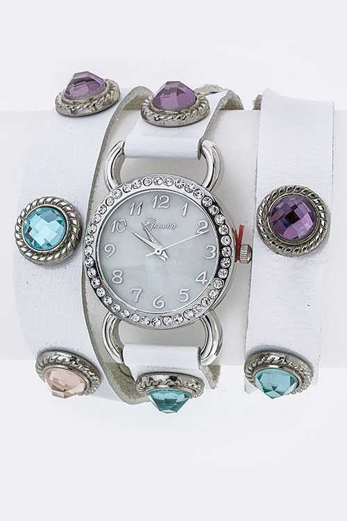 Crystal Studs Wrap Around Fashion Watch