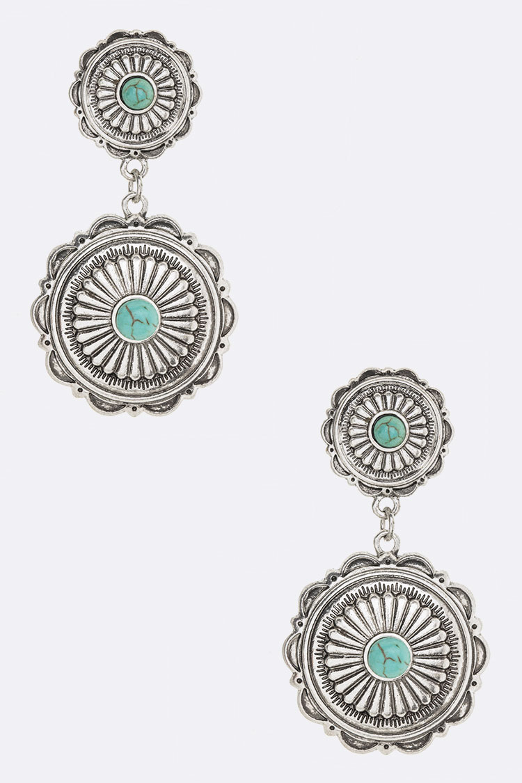 Metal Conchos Turquoise Earrings
