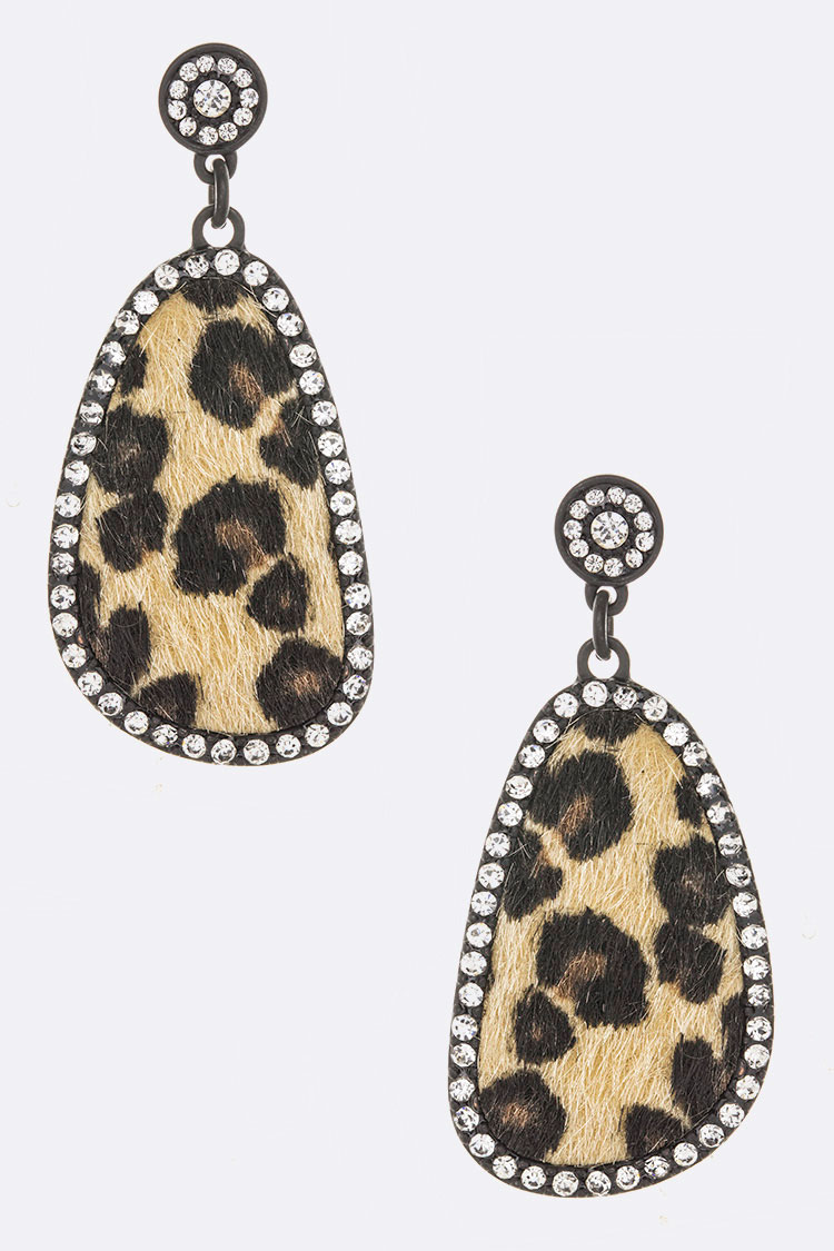 Leopard Printed Iconic Crystal Accent Earrings