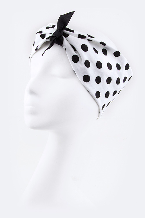 Convertible Polkadot Cotton Jersey Headband