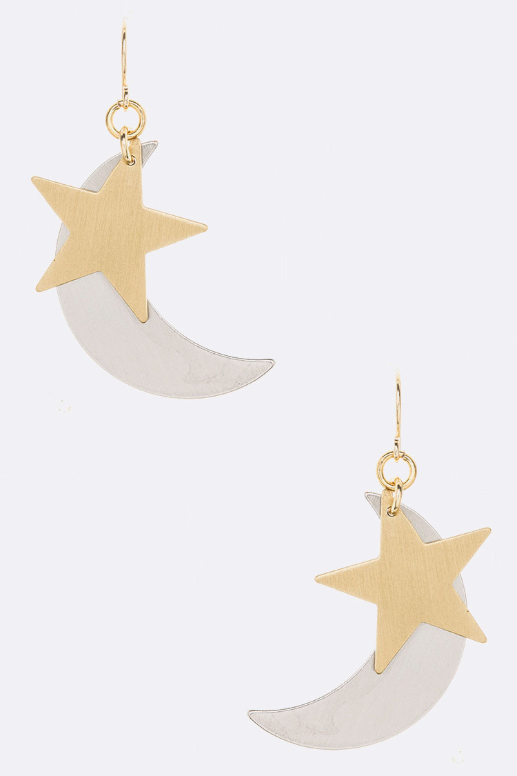 Moon & Star 2 Tone Brush Metal Iconic Earrings