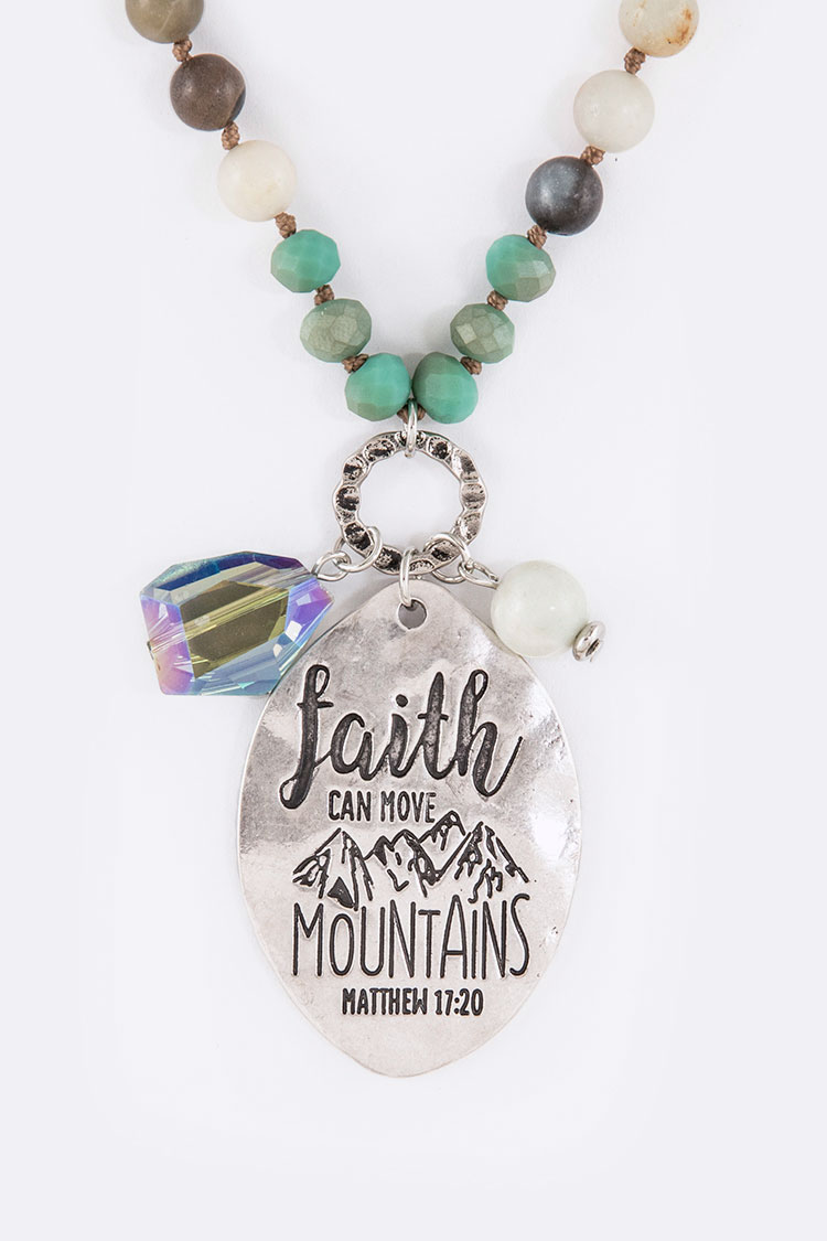 Faith Moves Mountain Engraved Stone Beads Message Pendant Neckla