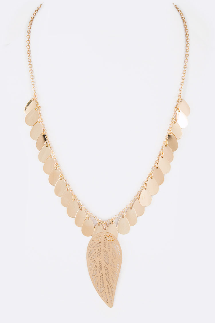 Leaf Filigree Fringe Disk Iconic Necklace