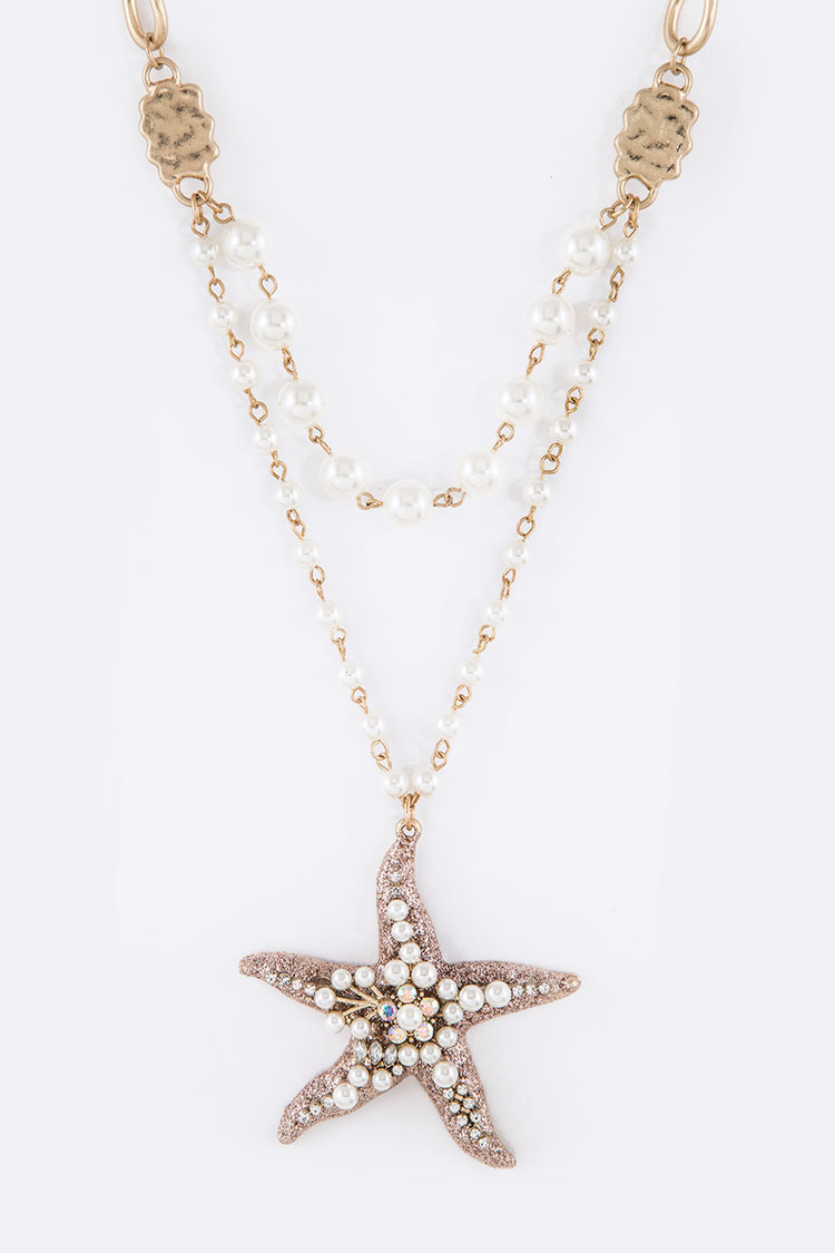 Pearl & Crystal Glitter Starfish Pearl Station Layer Necklace Se