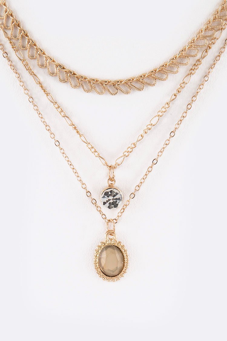 Mix Stone Pre-Layer Necklace