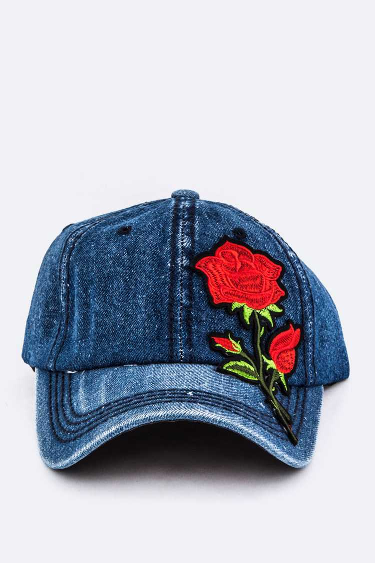 Rose Embroidery Denim Cap