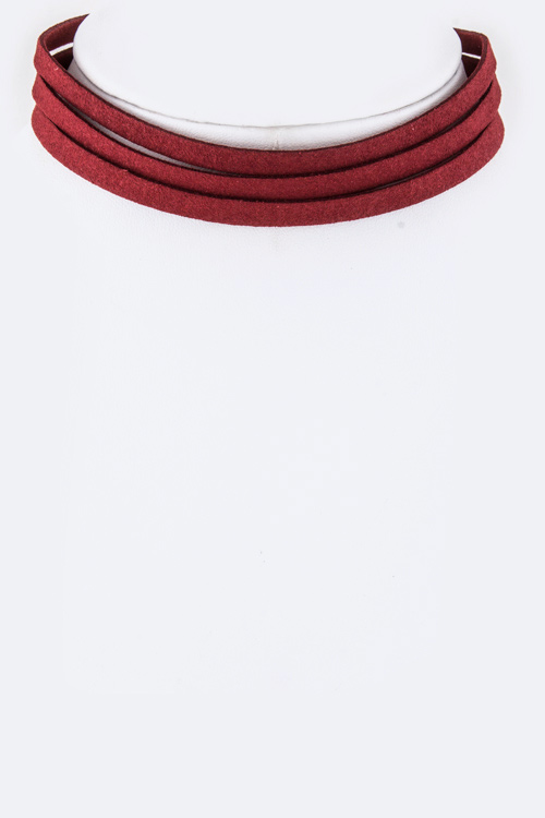 Slit Leather Choker Necklace