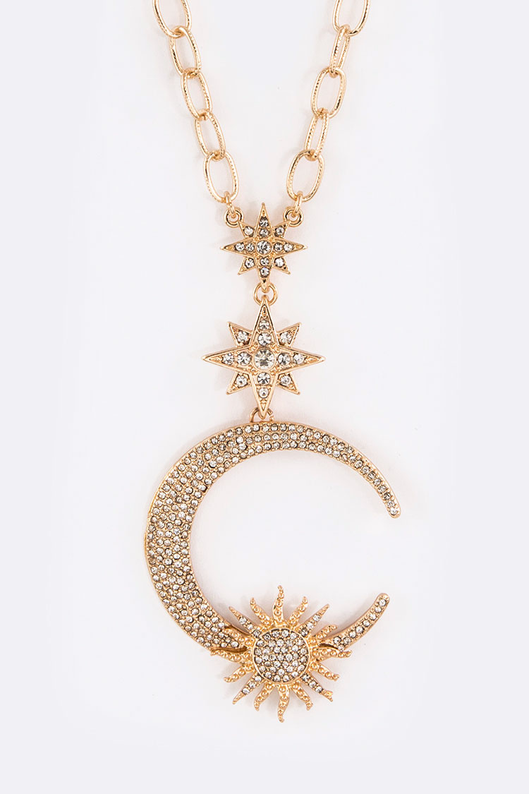 Crystal Star & Moon Pendant Necklace