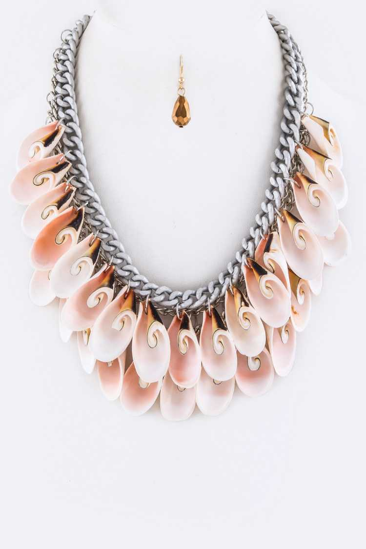 Genuine Sea Shells Layered Statement Necklace Set