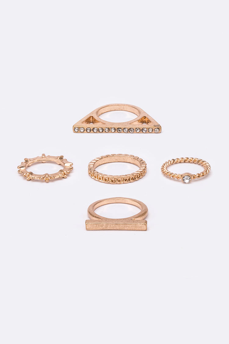 Mix Texture Ring Set