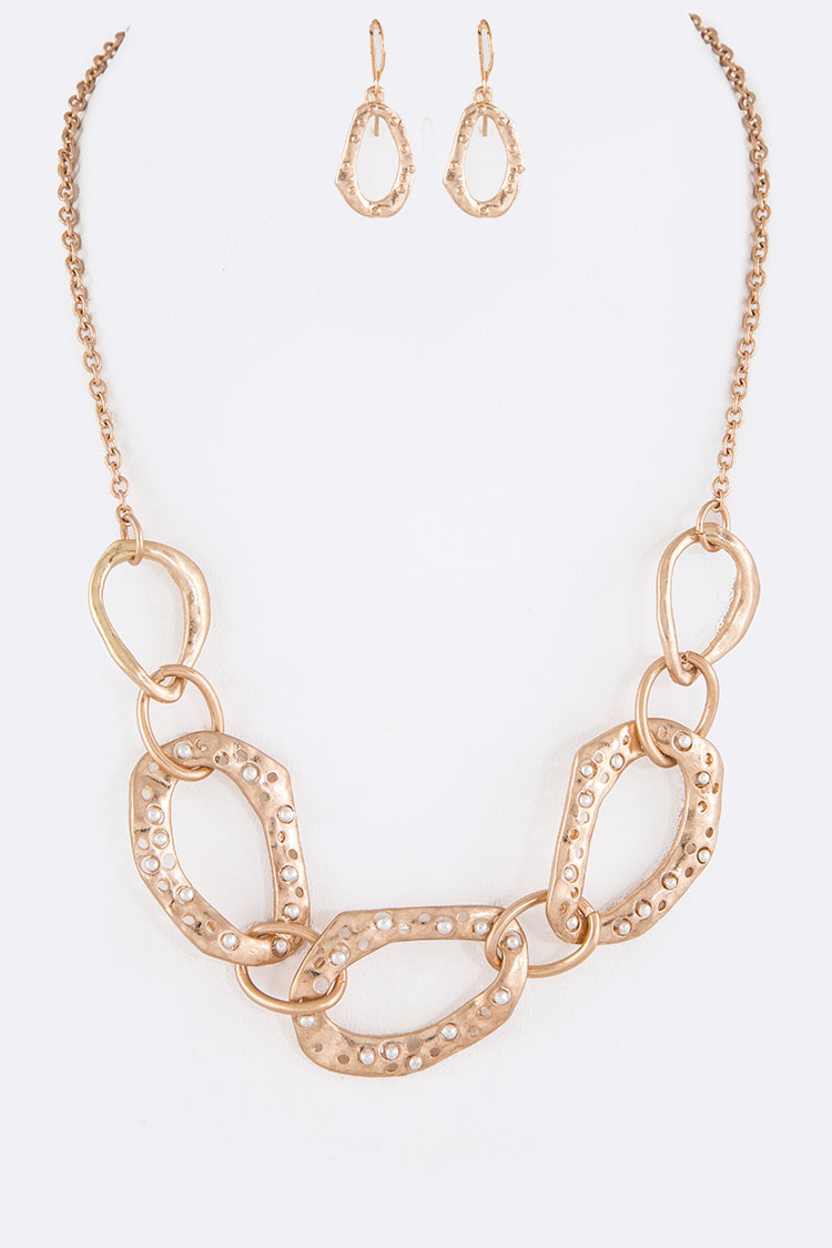 Textured Organic Loops Necklace Set