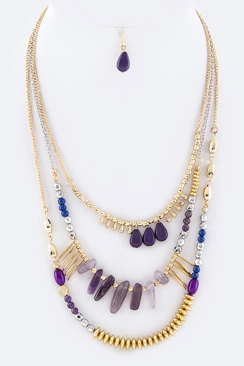 Mix Prescious Stones Layered Necklace Set