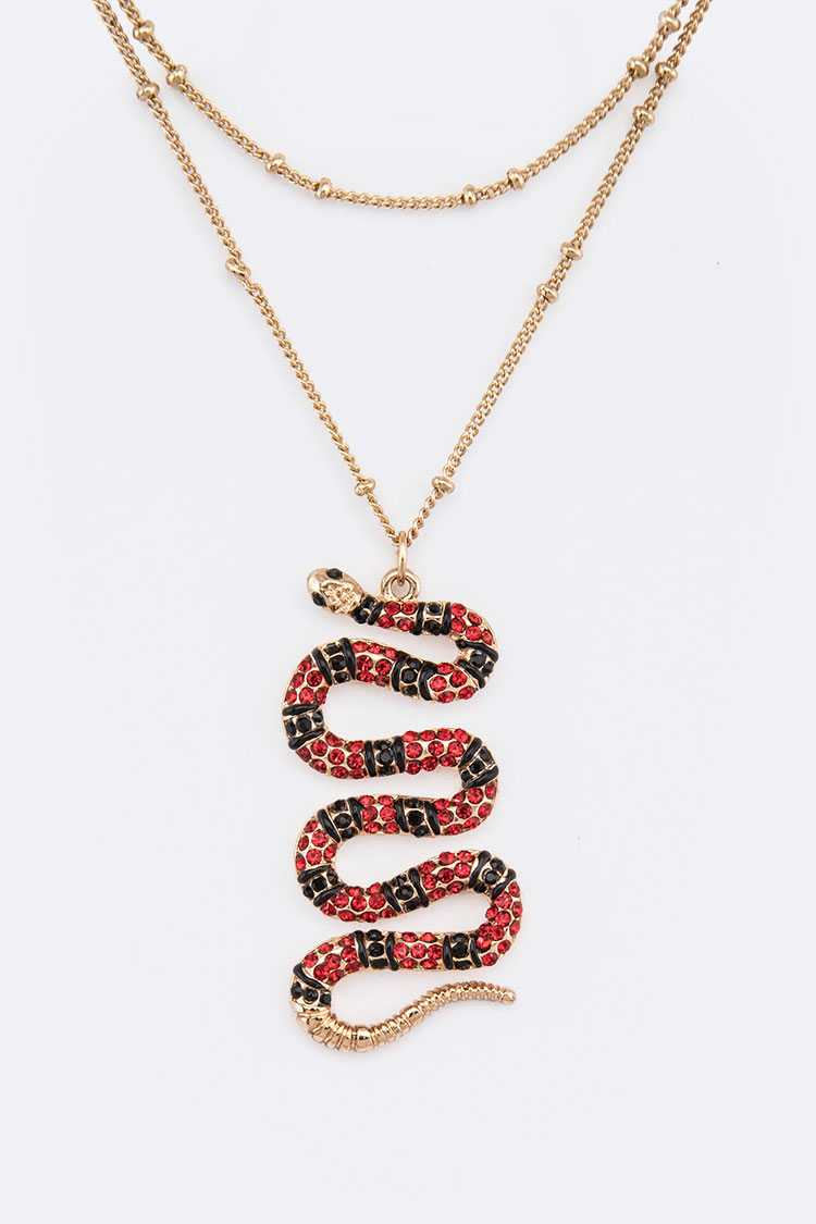 Crystal Snake Pendant Iconic Necklace