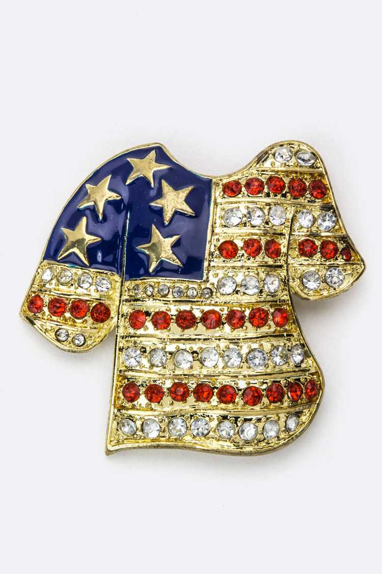 Crystal US Flag Shirts Brooch