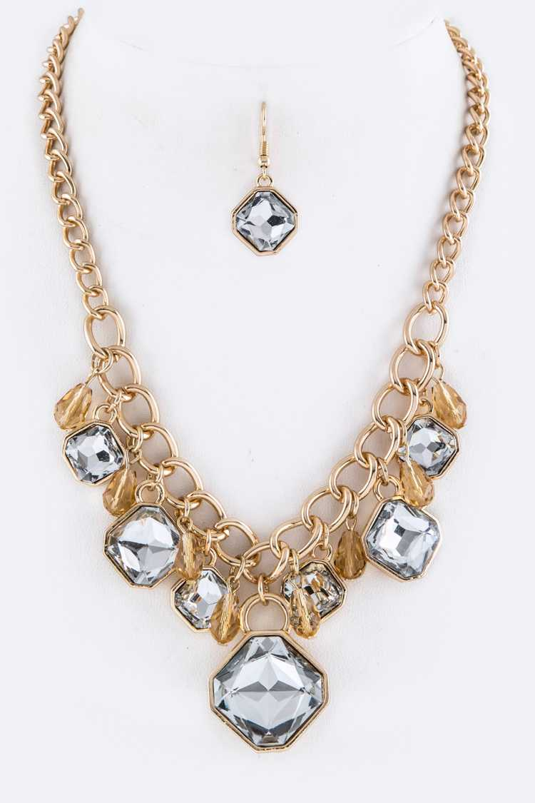 Square Crystals Statement Necklace Set