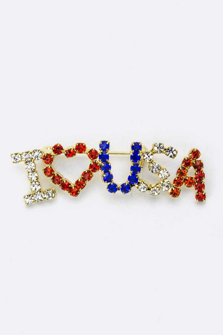 I LOVE USA Brooch - M