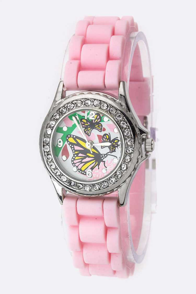 Butterfly Dial Crystal Fashion Watch