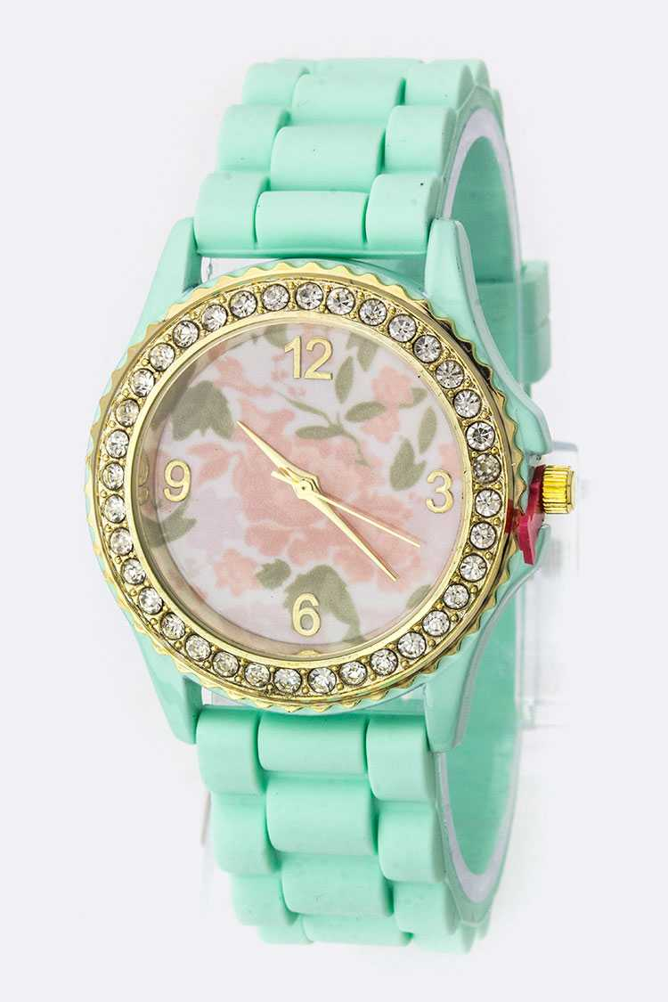 Floral Dial Silicon Fashion Watch