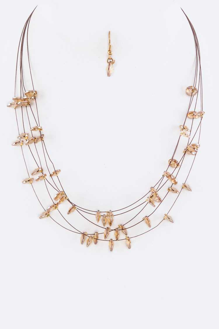Disk Beads Layer Necklace Set