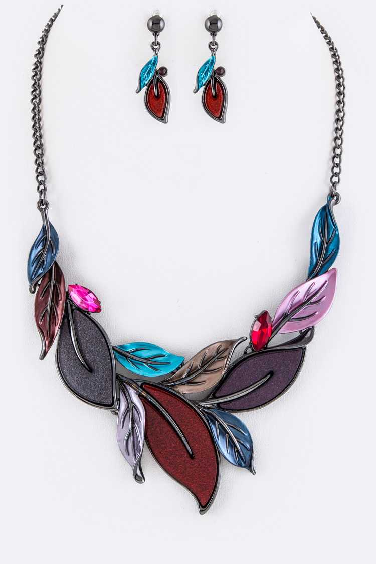 Leaf Statement Necklace Set