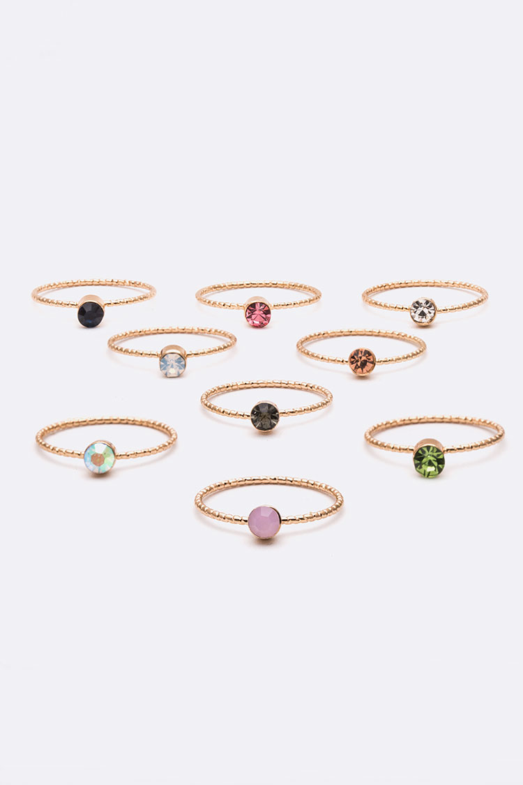 Mix Crystal Dainty Ring Set