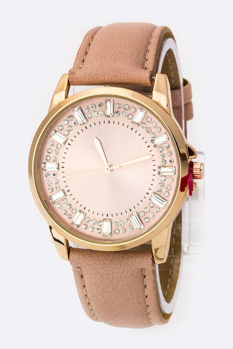 Baguette Crystal Bezel Leather Watch