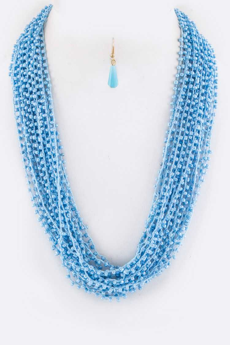 Laced Beads Layered Necklace Set