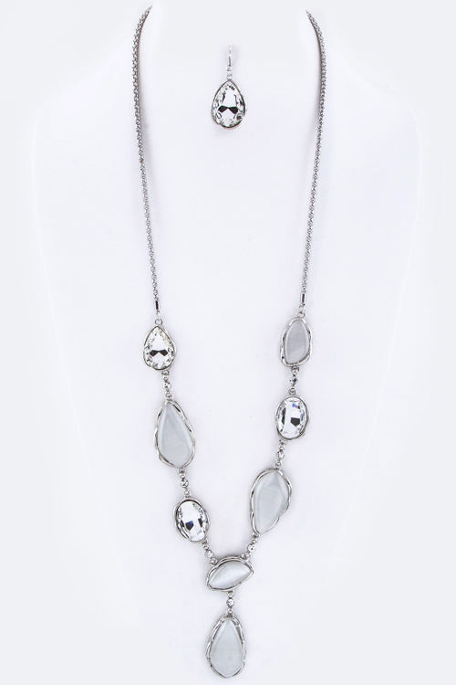 Crystal & Glass Long Necklace Set