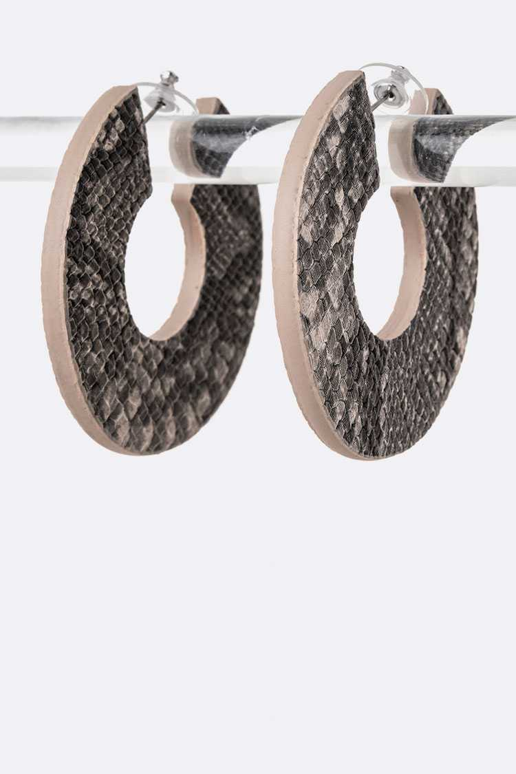 Snake Printed Faux Leather Iconic Hoops