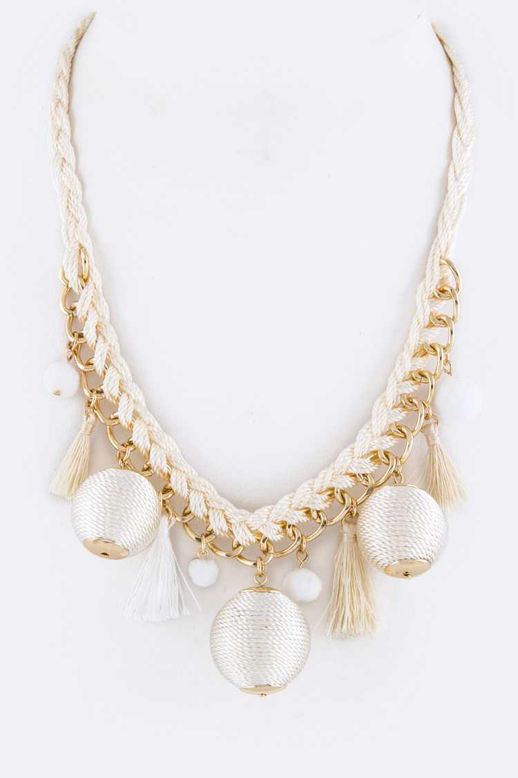 Tassel & Yarn Balls Statement Necklace