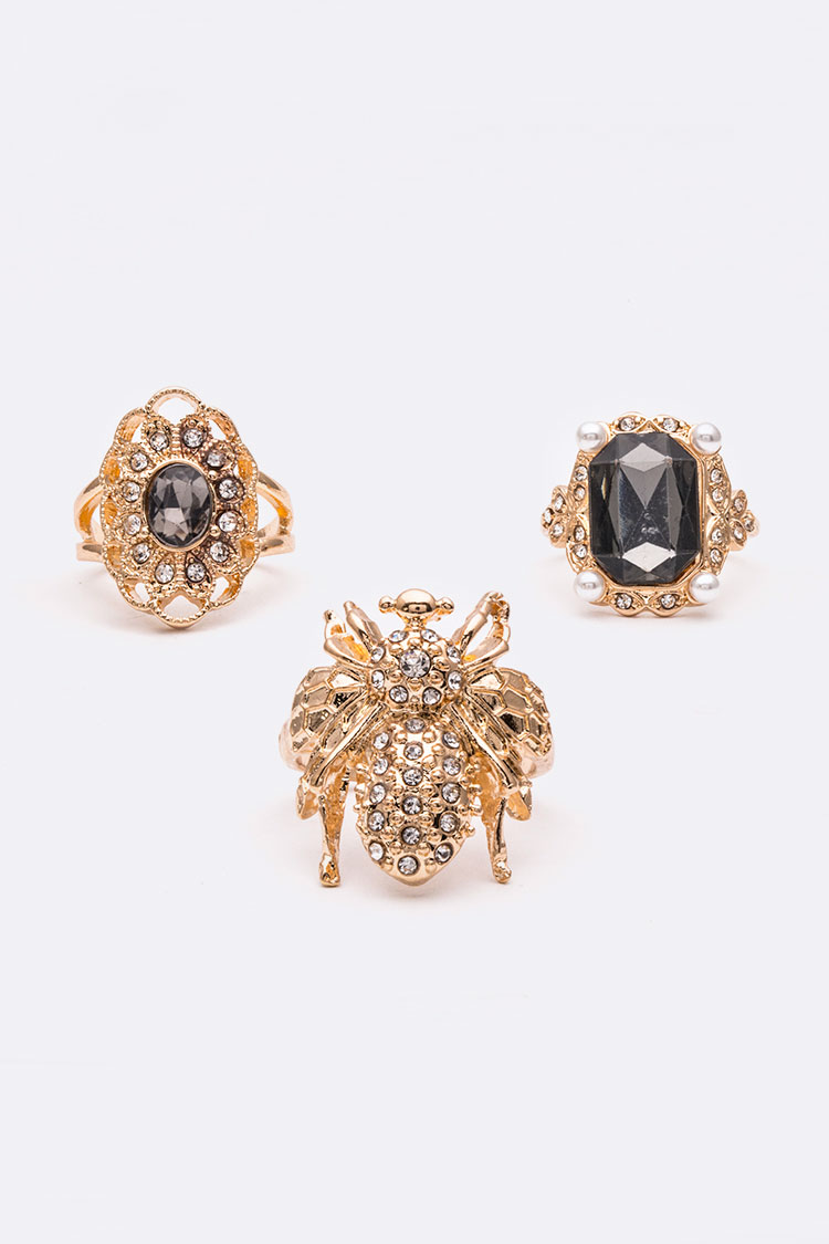Crystal Bee & Jewels Iconic Ring Set