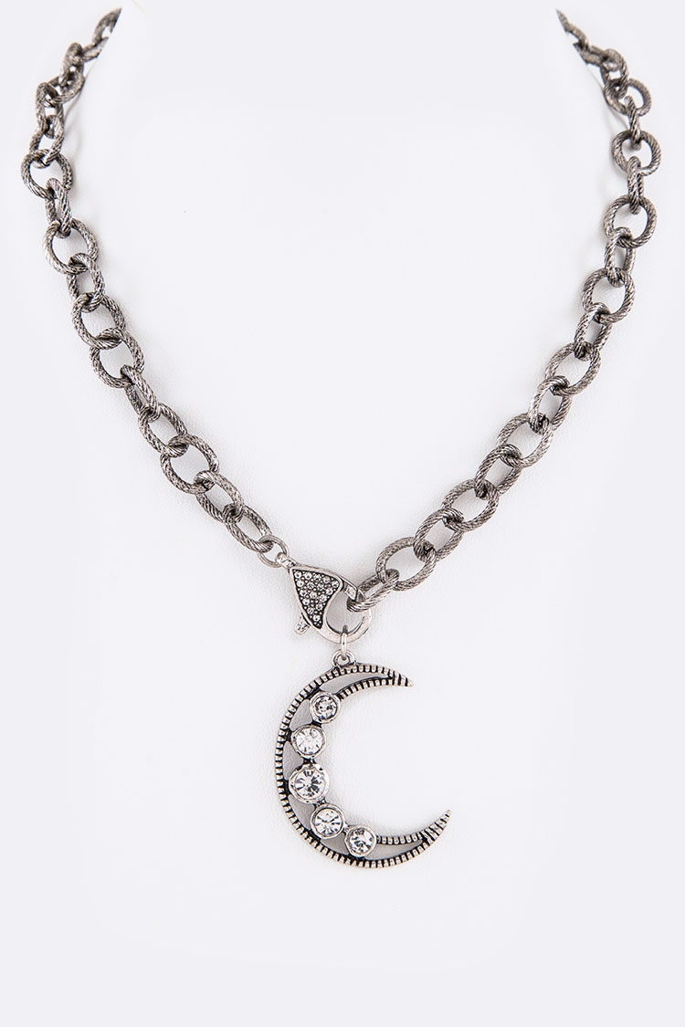 Crystal Crecent Moon Iconic Pendant Necklace