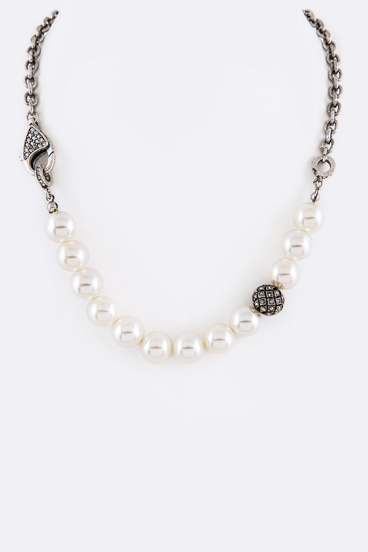 String Pearl Crystal Ball Iconic Necklace