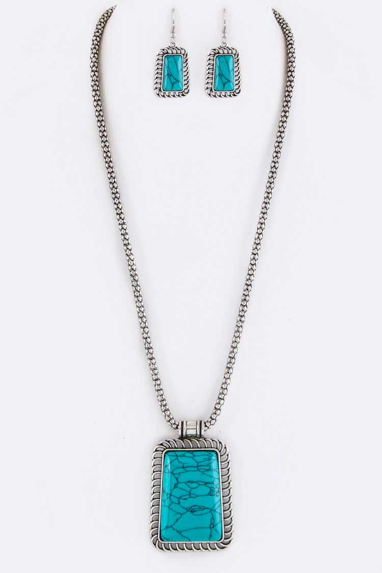 Rectangle Stone Pendant Necklace Set