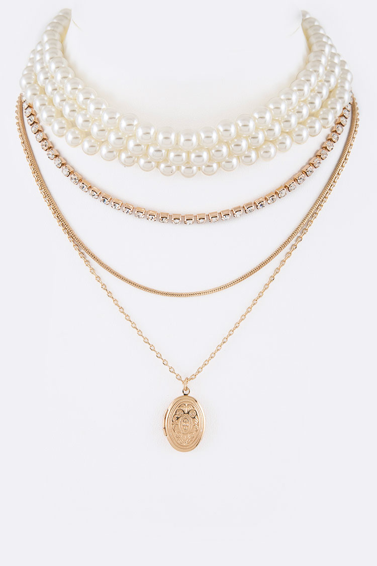 2 In 1 Pearl Choker Locket Layer Necklace