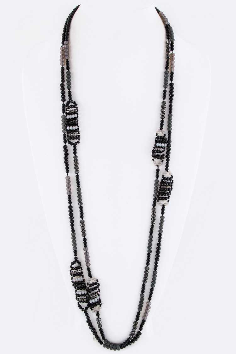 Mix Beads Long Layer Necklace