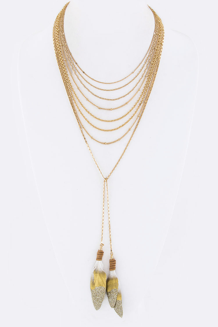 Gold Dipped Natural Feathers Layer Necklace