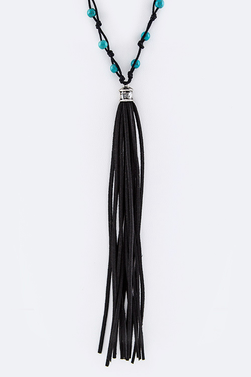 Leather Tassel & Turquoise Bead Station Necklace Set