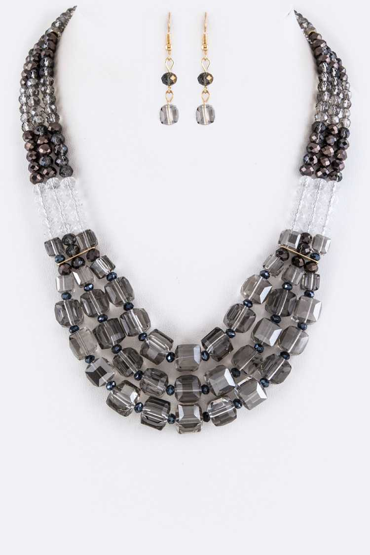 Mix Beads Layer Necklace Set