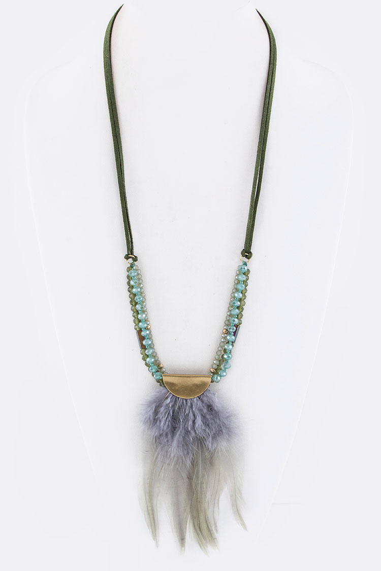 Layer Beads Festival Mix Feather Charm Necklace