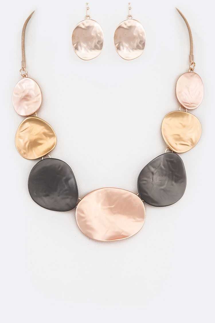 Tritone Statement Metal Necklace Set