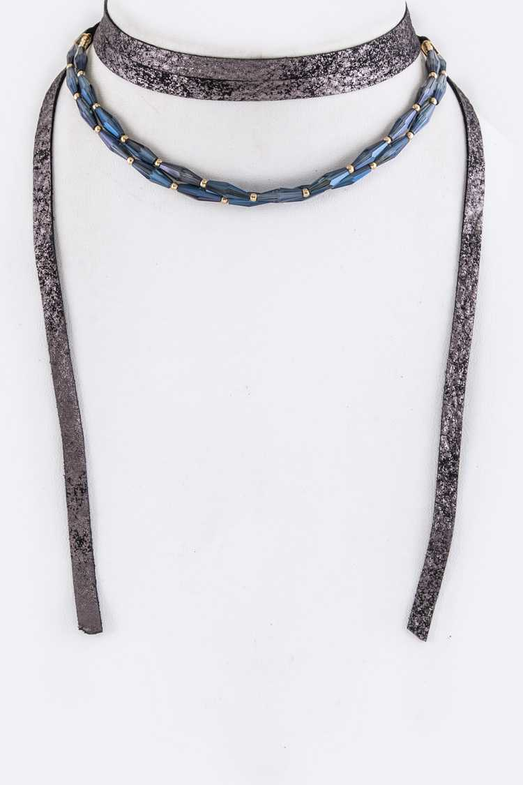 Layer Beads Wrapped Leather Choker