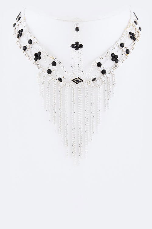Fringed Chain Crystal Choker Necklace