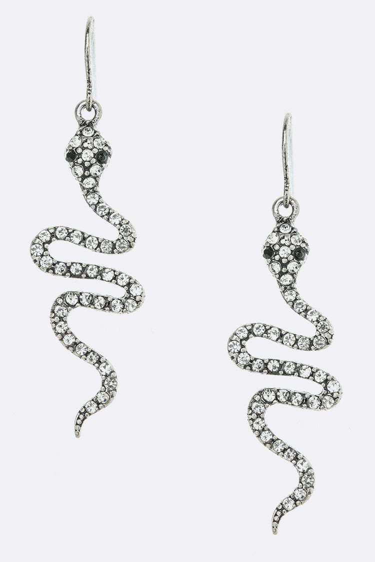 Crystal Snake Drop Earrings