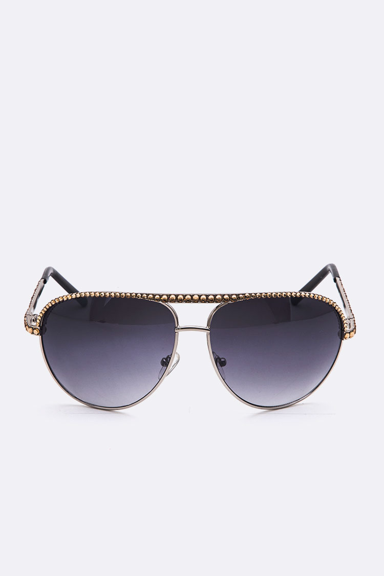 Crystal Ornate Aviator Sunglasses