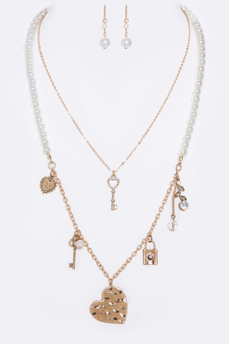 Heart & Key Layered Necklace Set