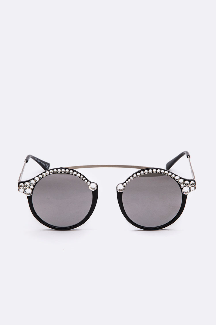Crystal Ornate Round Sunglasses