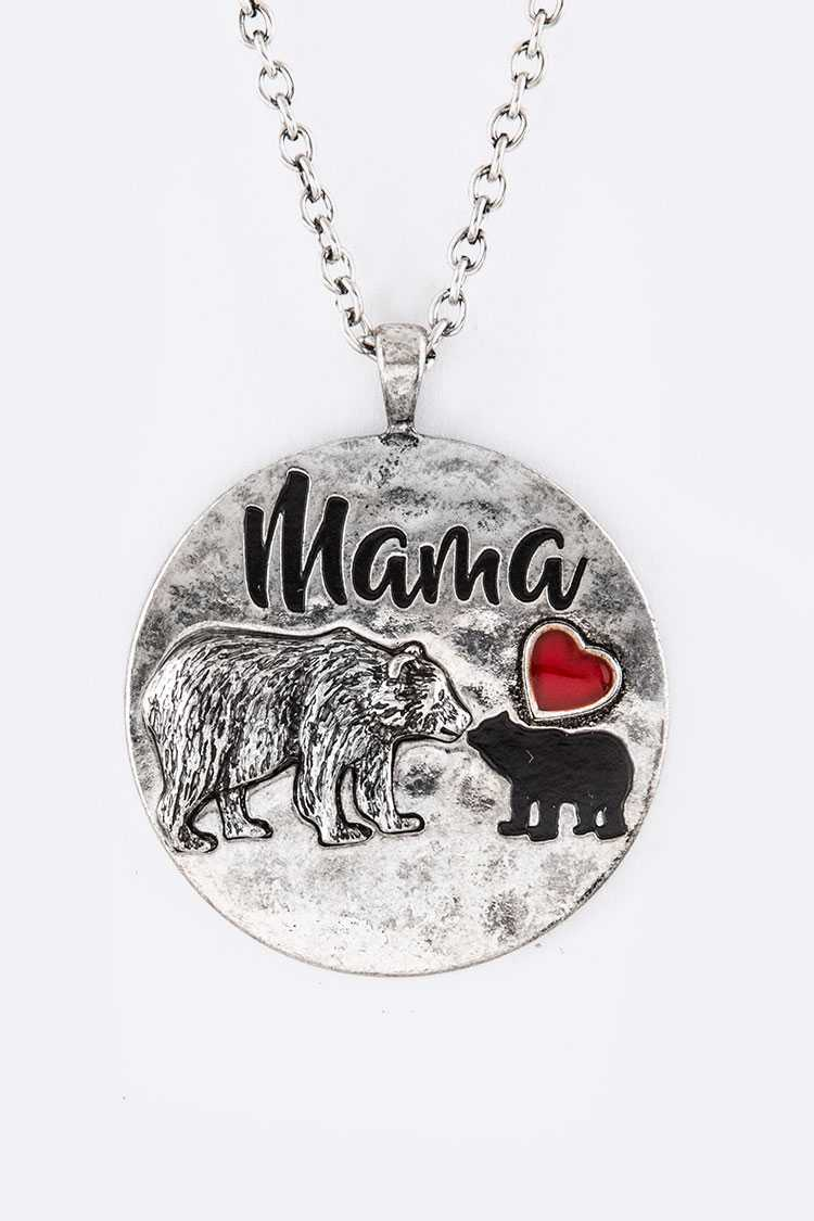 Mama Bear Long Pendant Necklace