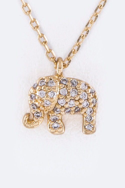 Petite CZ Elephant Pendant Necklace