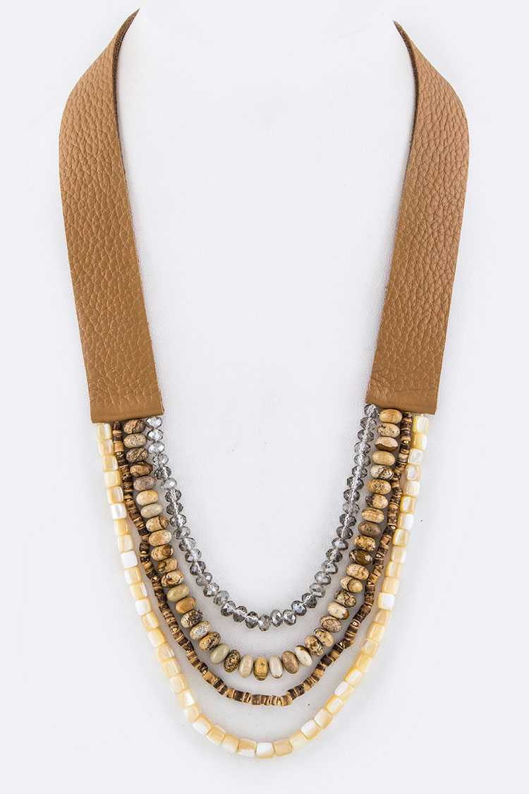 Mix Stone Beads Layer Leather Necklace